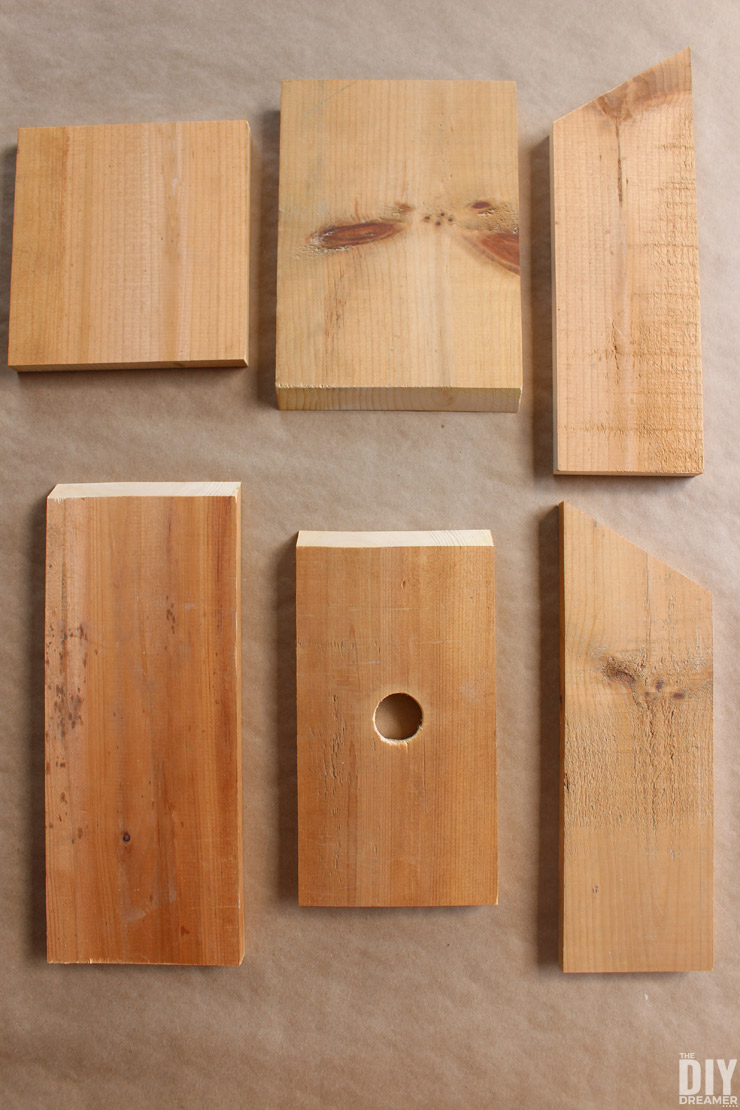Cut pieces for birdhouse