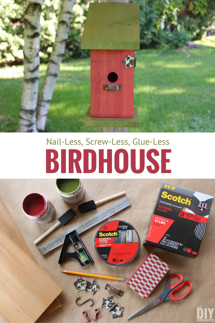 How to build a Nail-Less, Screw-Less, Glue-Less Birdhouse! Such a fun and unique way to build a birdhouse. Detailed DIY birdhouse tutorial.