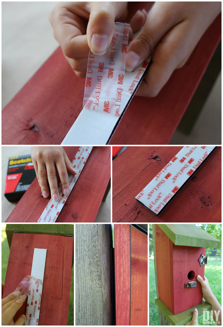 Use Scotch™ Extreme Fasteners to attach a birdhouse to a post