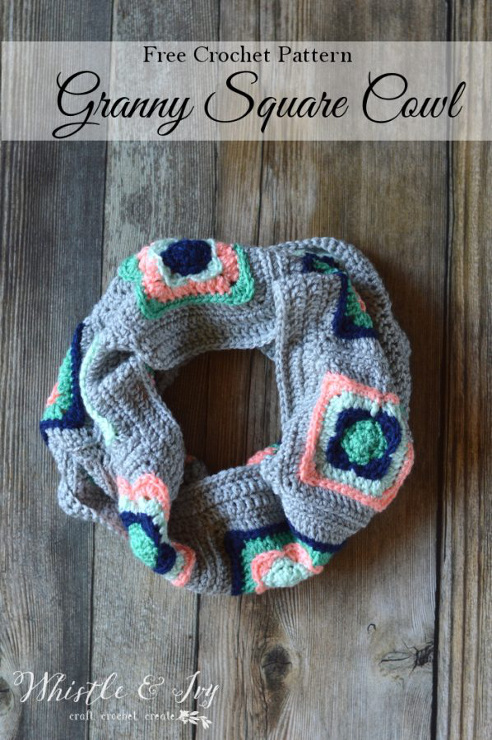 Granny Square Cowl Crochet Pattern