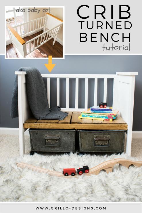 Repurposed Crib Turned Kids Bench