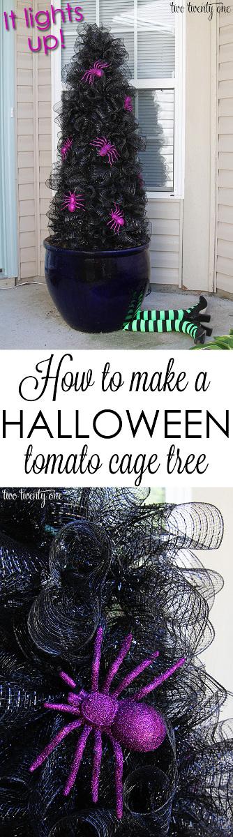 Halloween Tomato Cage Tree