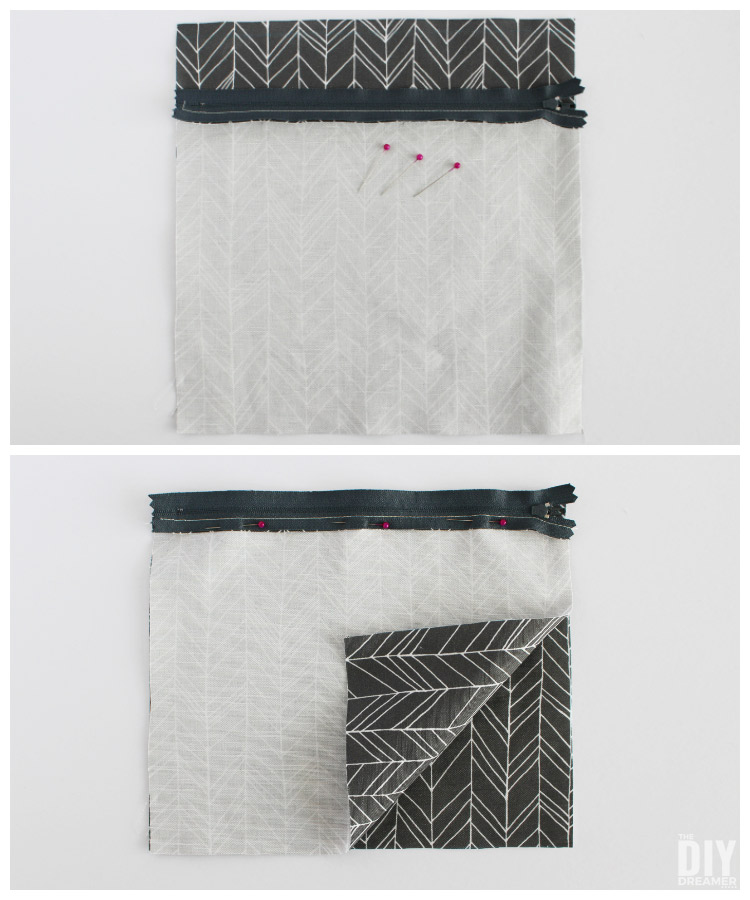 How to sew fabric onto a zipper