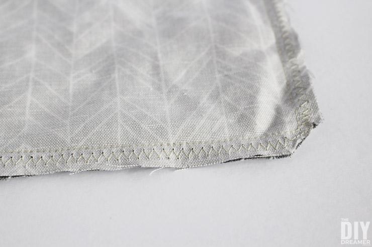 Zigzag stitch to prevent fraying