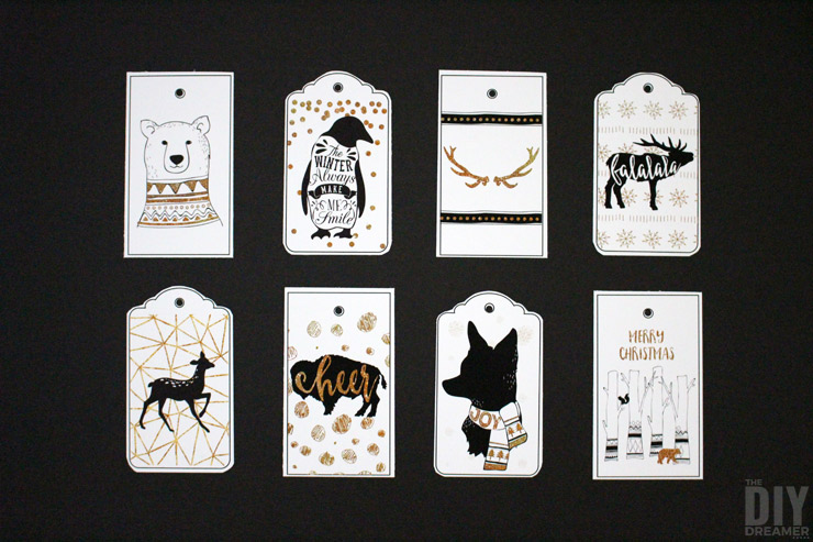 Free printable Woodland Christmas gift tags.
