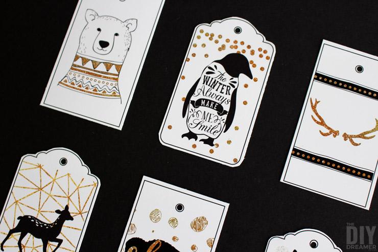 Woodland Christmas printable gift tags.