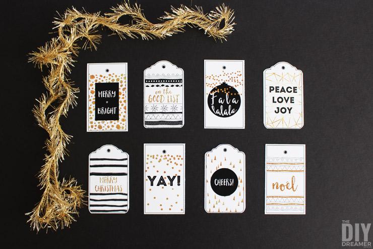 Black and Gold Merry Christmas Printable Gift Tags