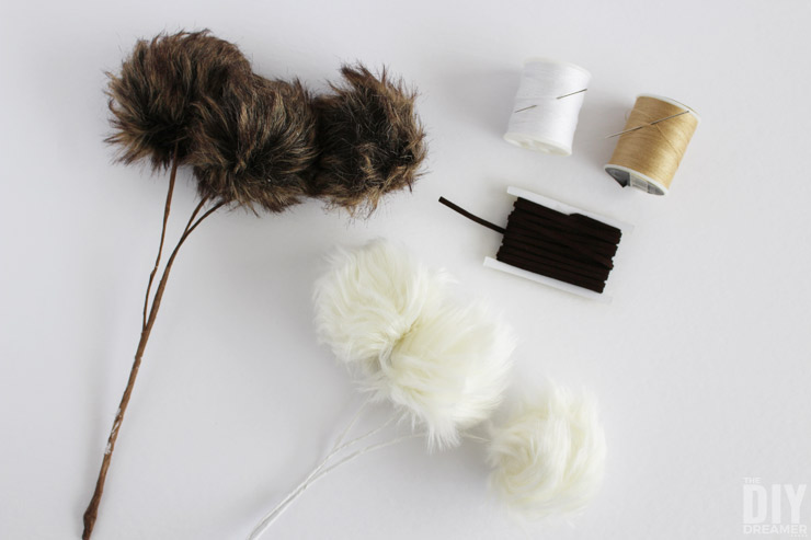 How to make faux fur pom pom ornaments.