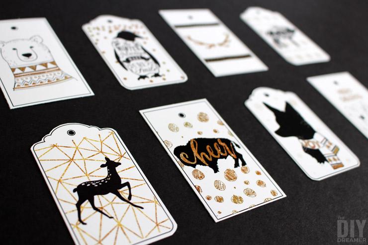 FREE Printable Gift Tags! Black and Gold Woodland Christmas!