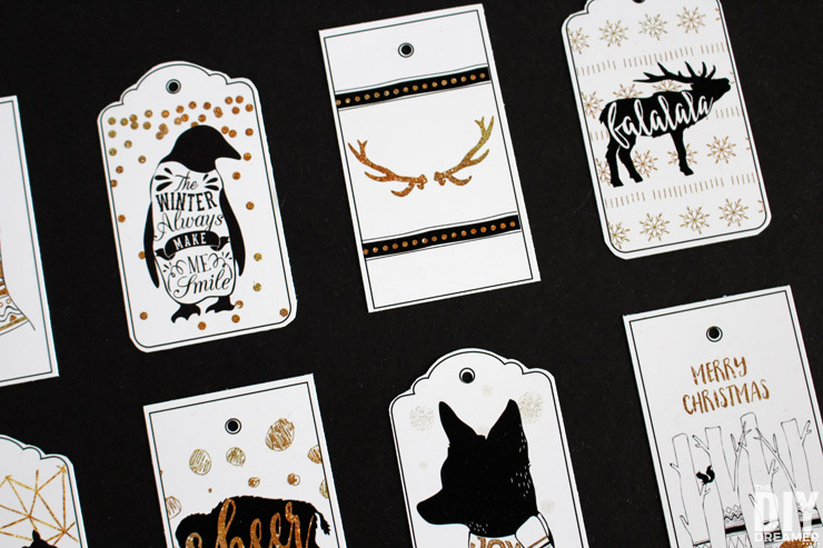 FREE Printable Gift Tags! Black and Gold Woodland Christmas!