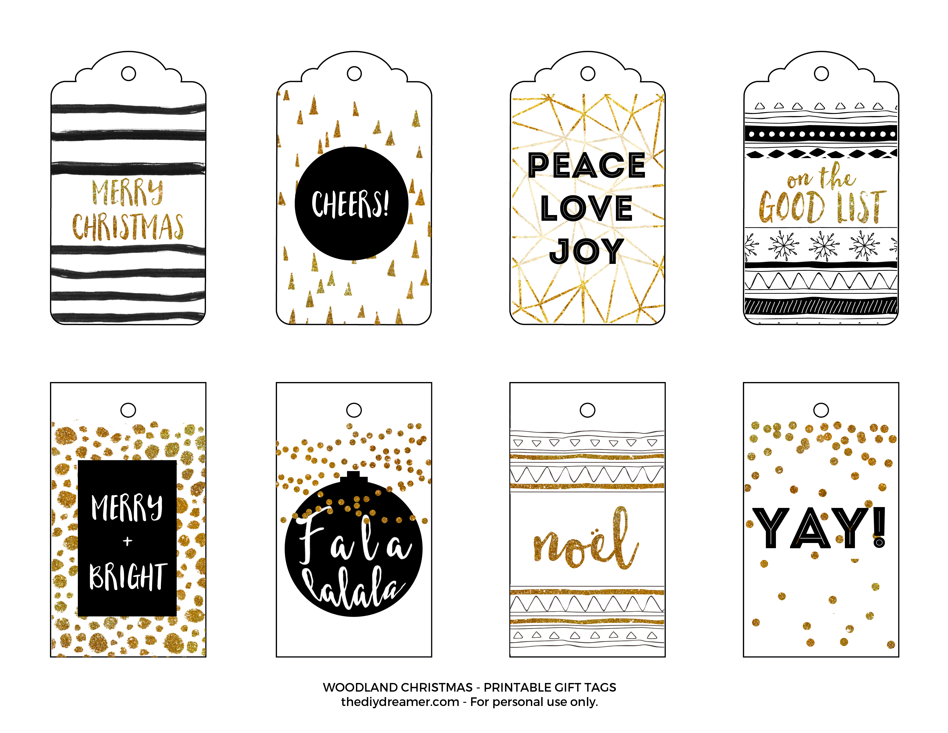 have a very merry christmas printable gift tags black and gold