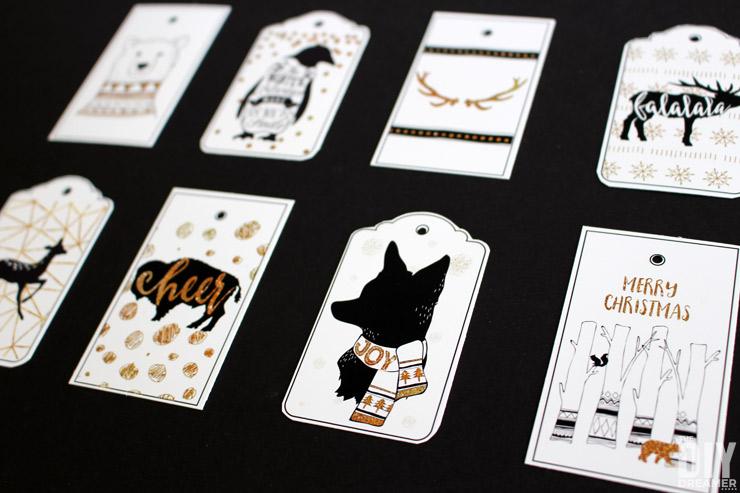 FREE Printable Gift Tags! Black and Gold Geometric Christmas!