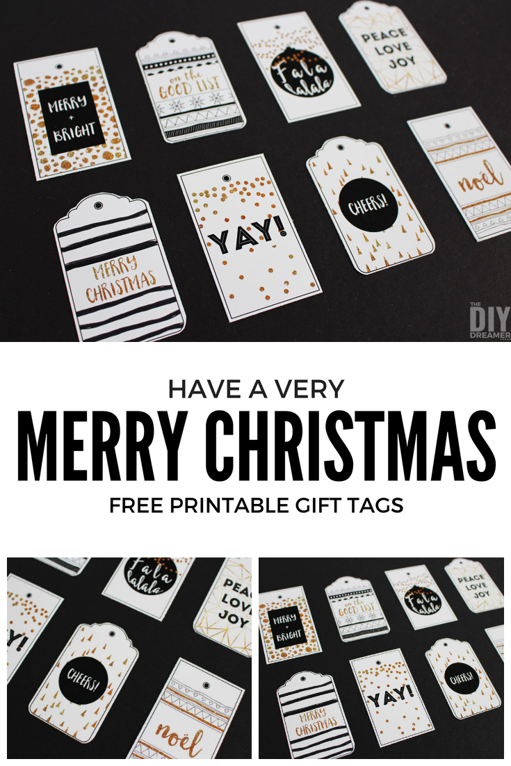 Black and Gold Merry Christmas printable gifts tags for you to print at home. These beautiful black and gold gifts tags will add the perfect touch to your Black and Gold Christmas. Free printable! P.S. This is set 2 of 3!