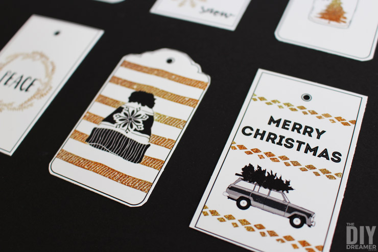 Black and Gold Wishing You a White Christmas printable gifts tags for you to print at home. These beautiful black and gold gifts tags will add the perfect touch to your Black and Gold Christmas. Free printable! P.S. This is set 3 of 3!