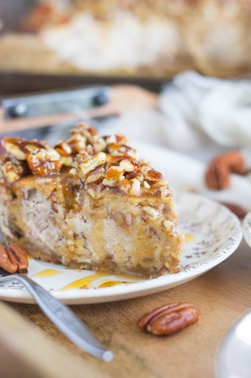 Honey Pecan Cheesecake with Pecan Shortbread Crust