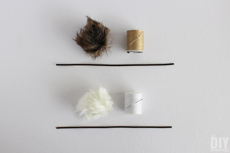 How to attach sueded cording to a fur pom pom.
