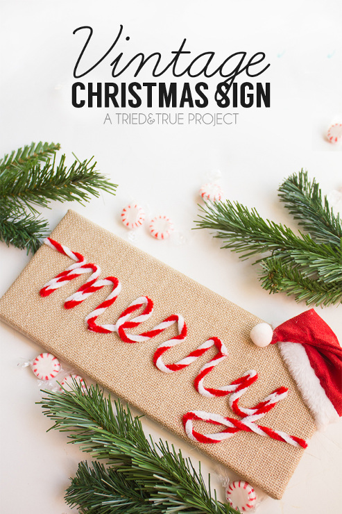 """Merry"" Vintage Christmas Sign"