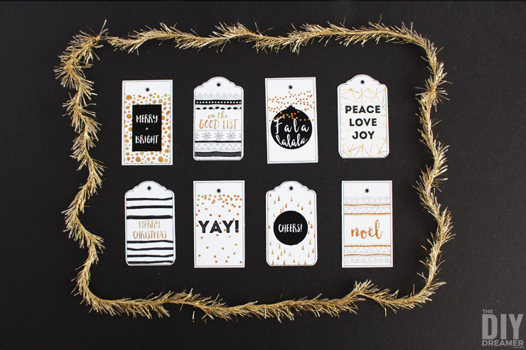 Black and Gold Christmas Gift Tags