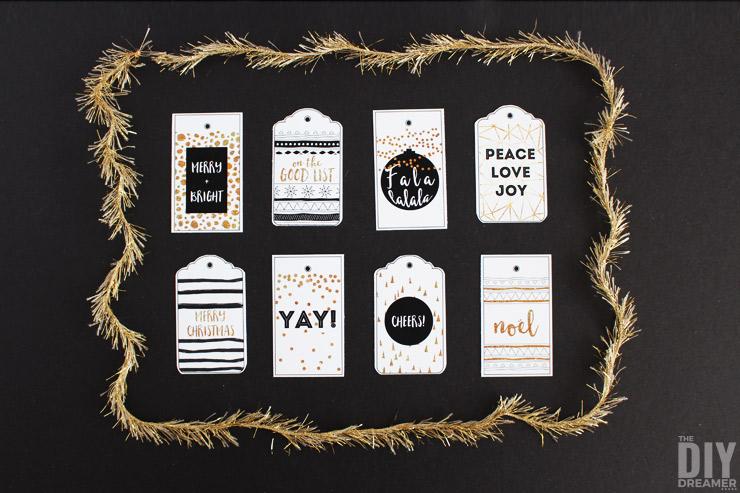 Black and Gold Christmas Gift Tags
