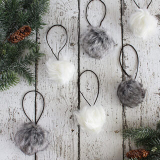 Faux Fur Pom Pom Christmas Ornaments