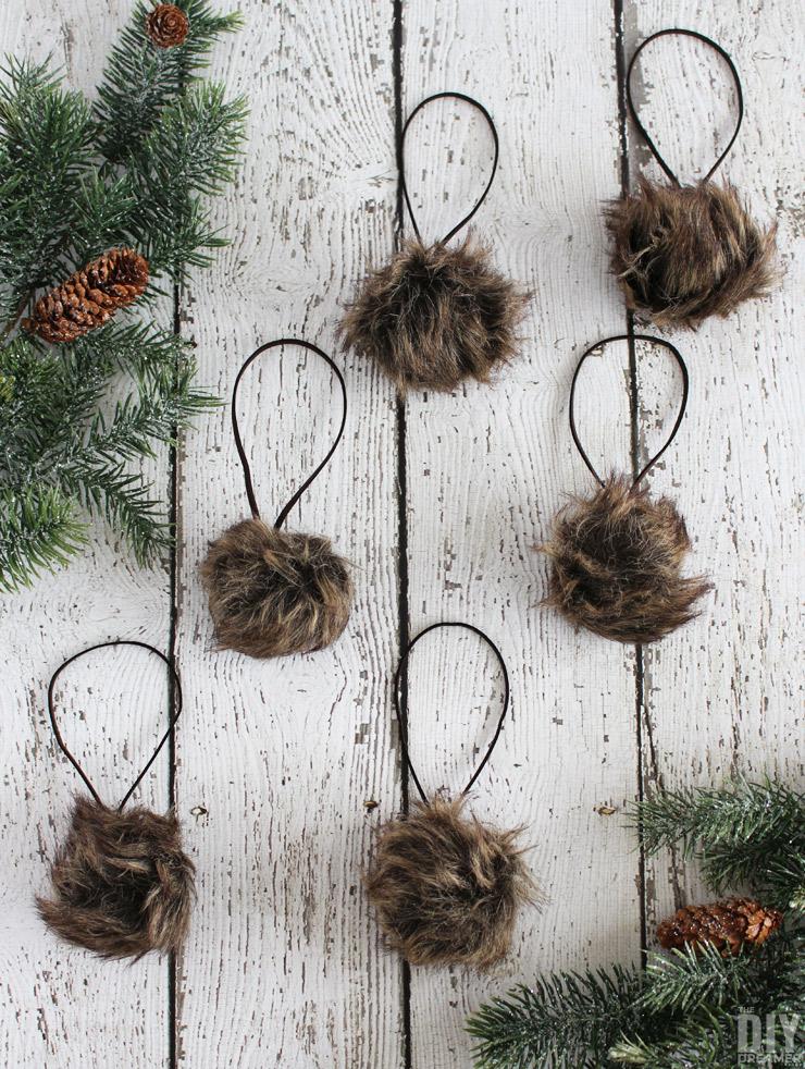 Faux Fur Pom Pom Christmas Ornaments Rustic Christmas