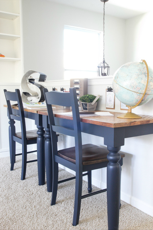 Repurposed Kitchen Table Wall-Mounted Desks