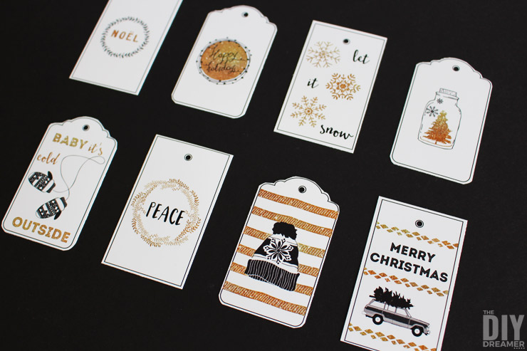 Black and Gold Printable Gift Tags for you to print at home!