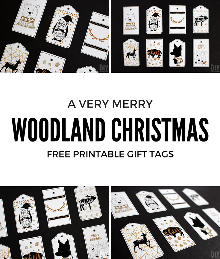 Woodland Christmas printable gifts tags for you to print at home. These beautiful black and gold animal gifts tags will add the perfect touch to your Woodland Christmas.