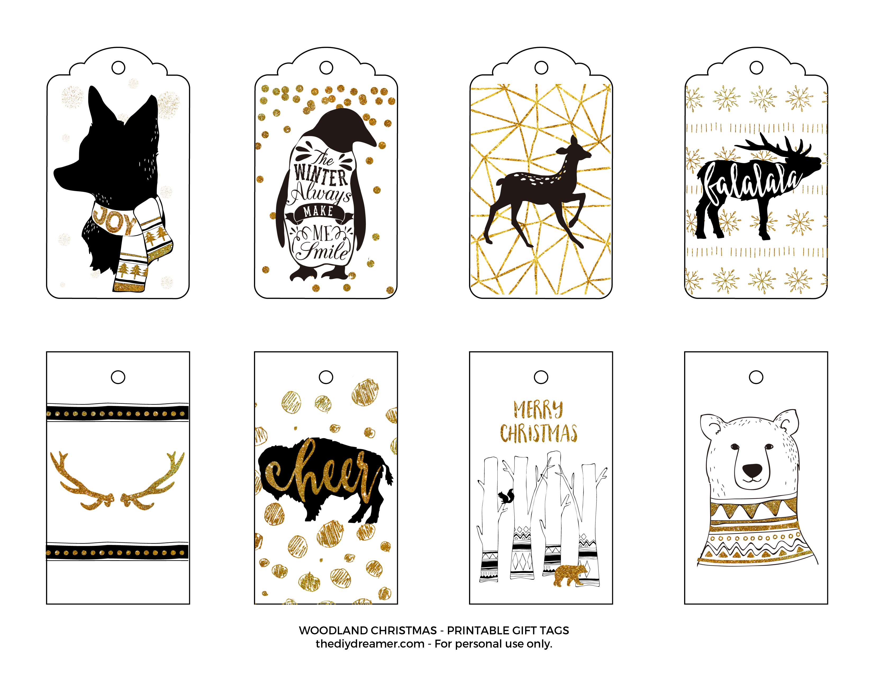 Woodland Christmas Printable Gift Tags - Black and Gold