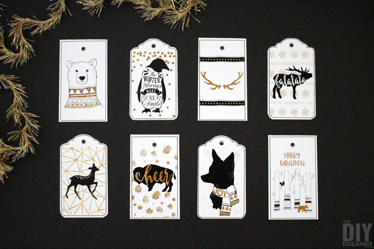 Woodland Christmas Free Printable Gift Tags. Perfect for Black and Gold Christmas!