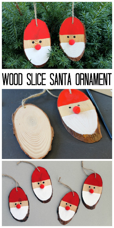 Wood Slice Santa Ornaments