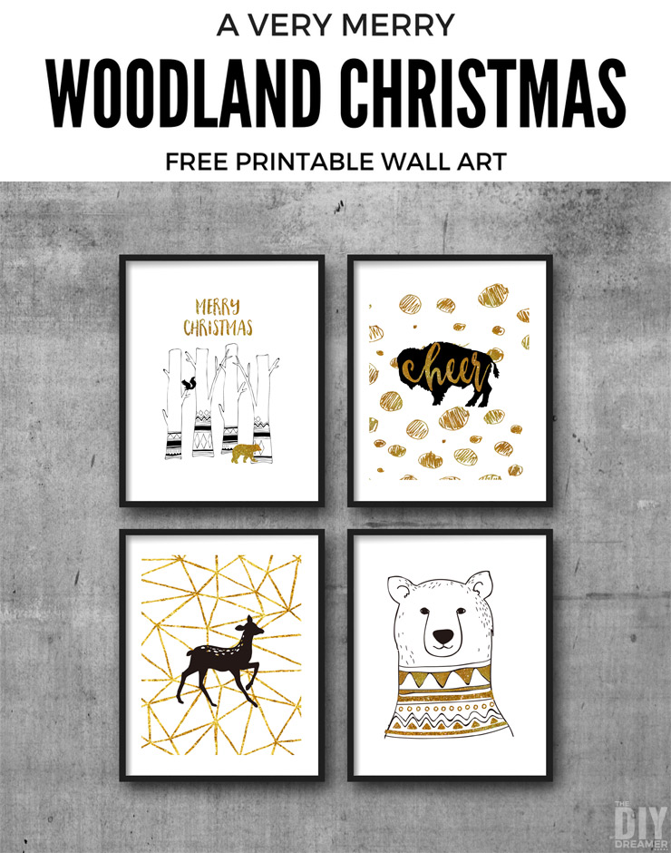 woodland christmas free printable wall art these printables are the perfect way to decorate your