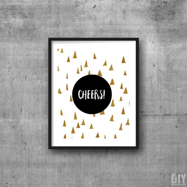 Black and Gold Geometric Cheers Printable Wall Art.
