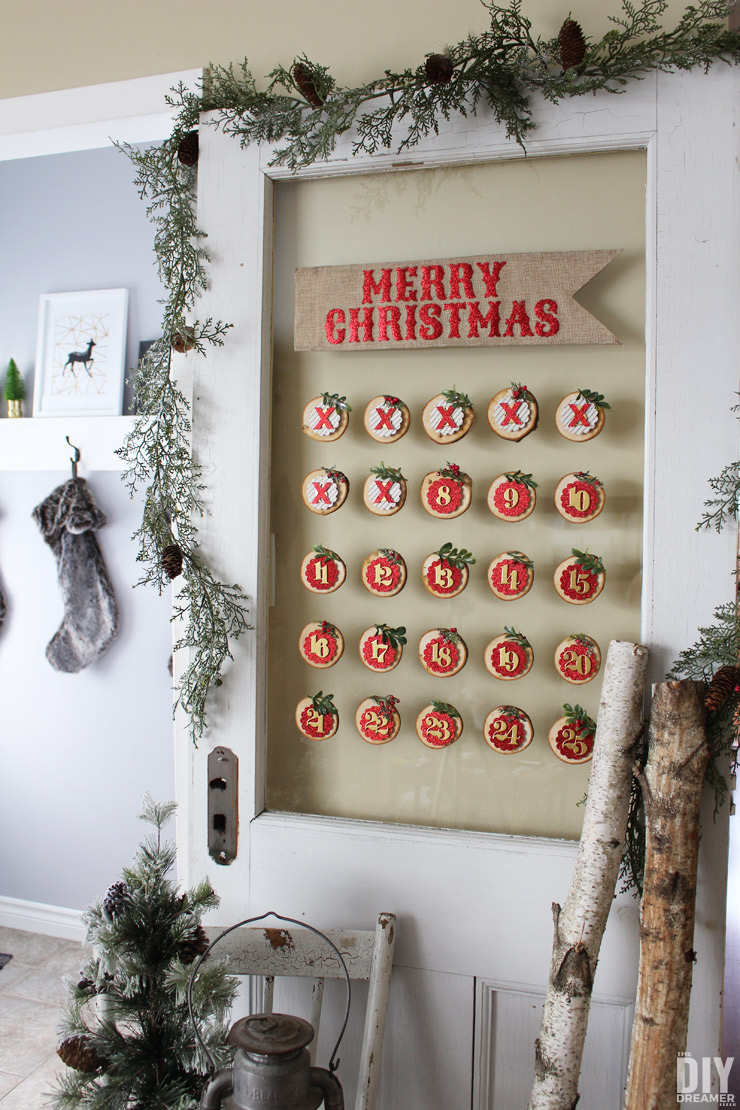 DIY Glass Mounted Wood Slice Christmas Countdown