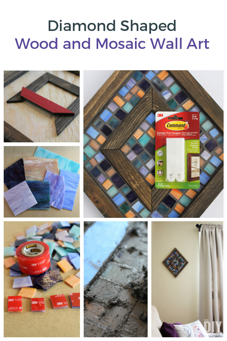 Diamond Shaped Wood and Mosaic Wall Art. Step by step tutorial on how to make unique wall art for your home. Unique DIY Wall Art.