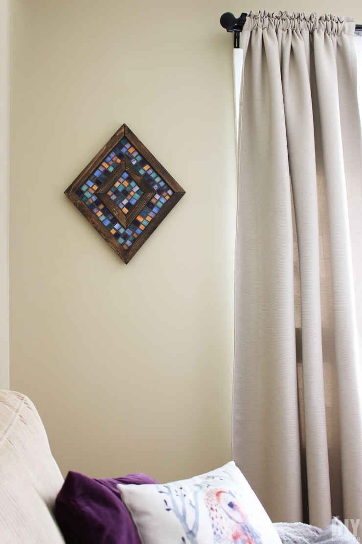 Diamond Shaped Wood and Mosaic Wall Art. Step by step tutorial on how to make unique wall art for your home.