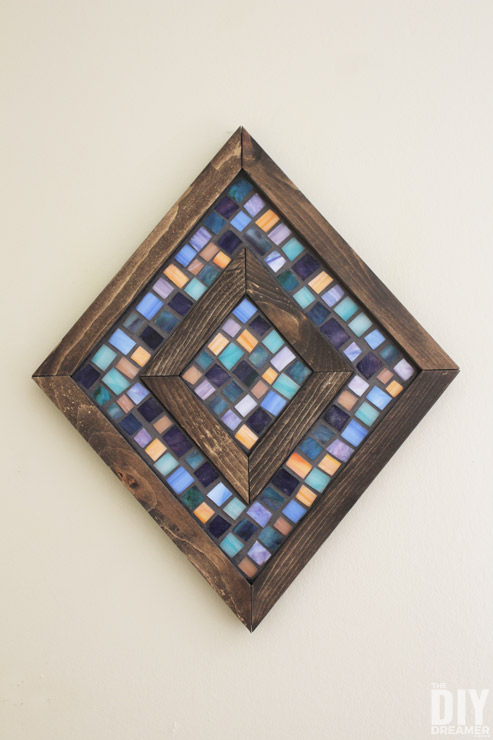 DIY Diamond Shaped Wood and Mosaic Wall Art