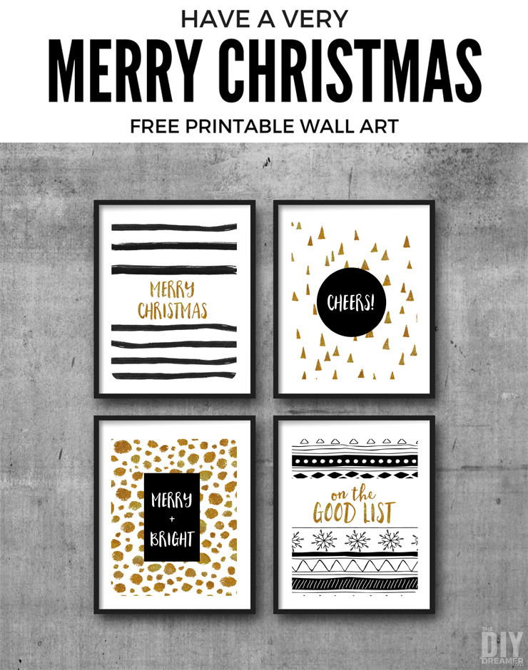 Merry Christmas Free Printable Wall Art. These printables are the perfect way to decorate your home for Christmas. P.S. There are matching gift tags too!