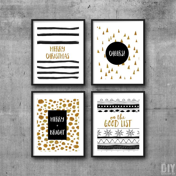 Black and Gold Merry Christmas Printable Wall Art. Print and display on your walls. Set of 4 printables.