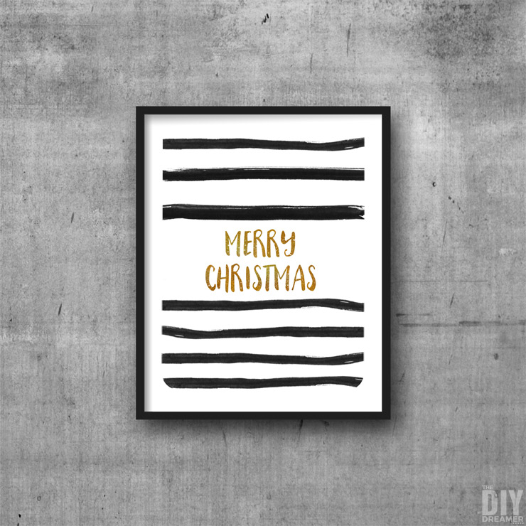 Black and Gold Striped Merry Christmas Printable Wall Art.