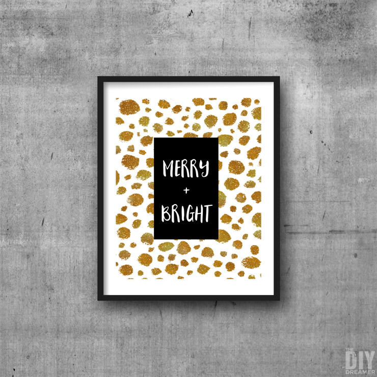 Black and Gold Merry and Bright Printable Wall Art.