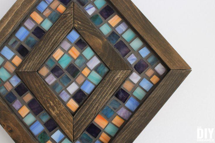 Diamond Shaped Wood and Mosaic Wall Art
