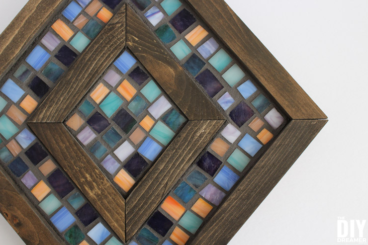 Diamond Shaped Wood And Mosaic Wall Art Unique Wall Decor