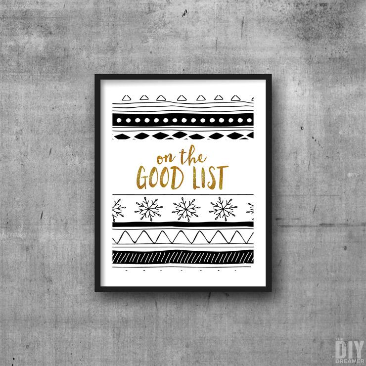Black and Gold On The Good List Printable Wall Art.