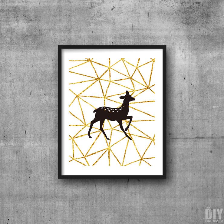 Black and Gold Geometric Deer Printable Wall Art.