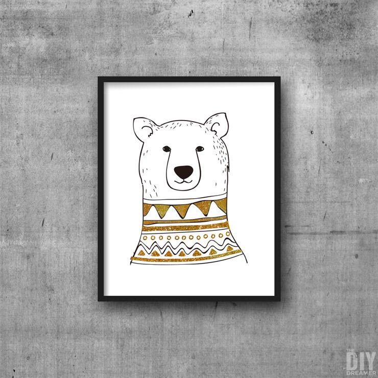 Black and Gold Polar Bear Printable Wall Art.