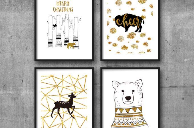 Black and Gold Woodland Christmas Printable Wall Art. Print and display on your walls.