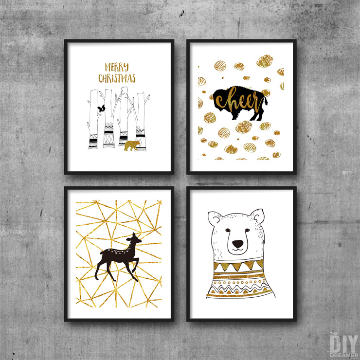 Black and Gold Woodland Christmas Printable Wall Art. Print and display on your walls.