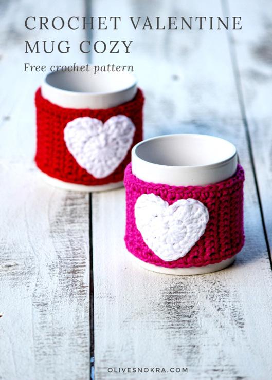 Crochet Valentine Mug Cozy