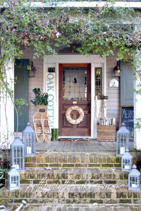 Winter Front Porch. Beautiful winter front porch decor.